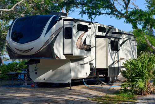 Towable RV at Camp Site